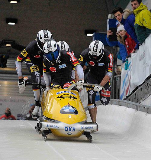Weltmeister am Start: Francesco Friedrich, Jannis Baecker, Martin Putze, Thorsten Margis. Fotos: BSD-Reker